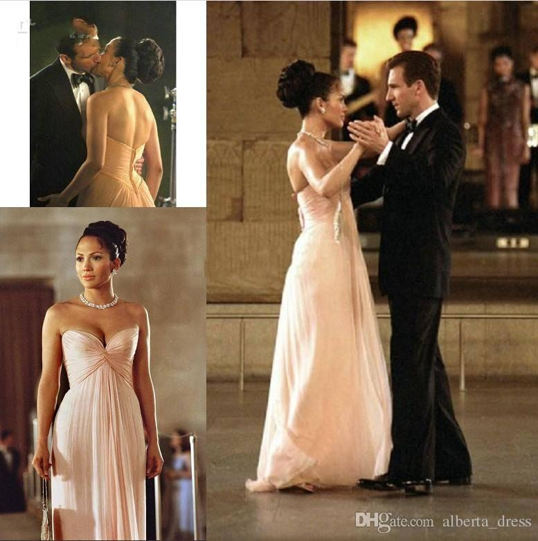 Simple Sweetheart Evening Dress Prom Gown Celebrity/Bridesmaid Dress in the movie 'Maid In Manhattan' Made of Chiffon Floor Length