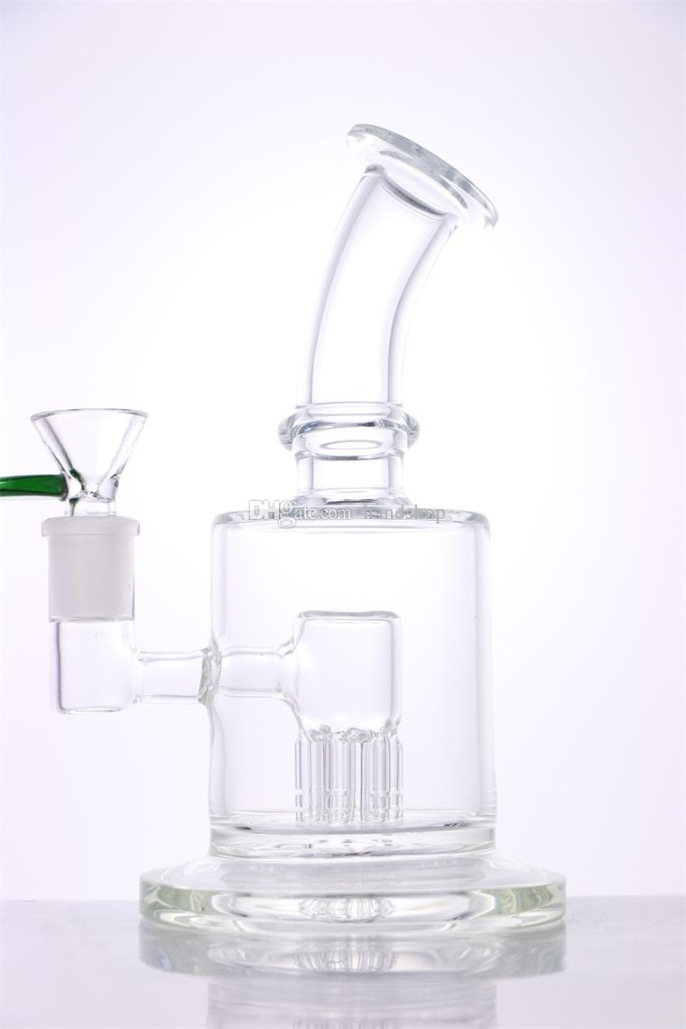 New Arrival 7 inches Heady Glass Bong 6 Arms for PERC 14mm joint size for Trending bongs Water pipe glass bowl
