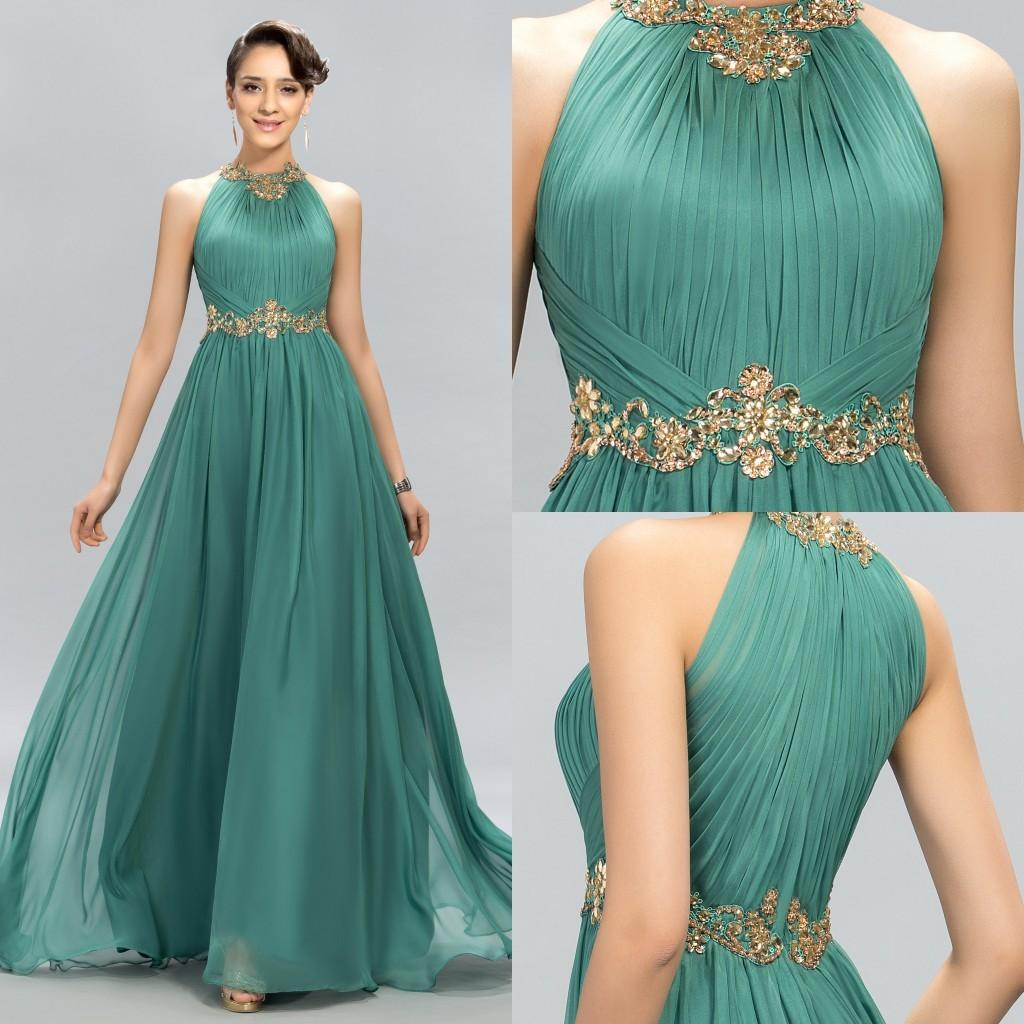 2018 New Green Prom Dresses Halter Crystal Beads Ruffles A Line Long ...