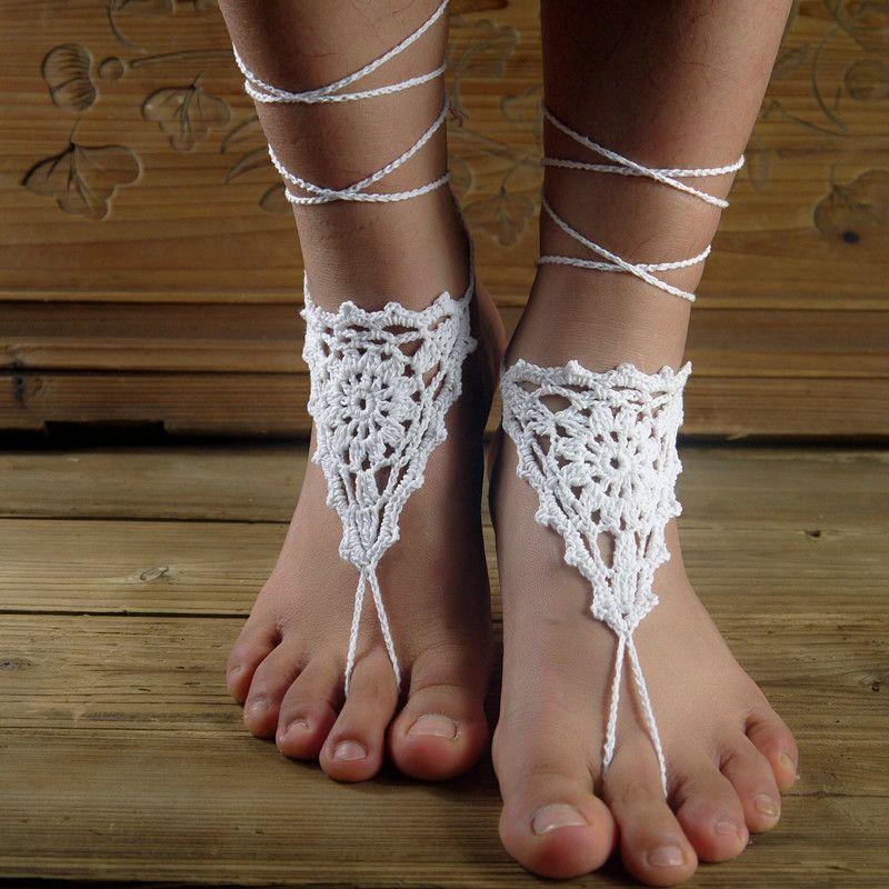 Crochet Foot Decoration Belly Dance Shoes Yoga Barefoot Beige Barefoots Bridal  Beach Barefoot Crochet Beige Barefoot Victorian Lace Heeled Sandals Boys ... cf060883afac