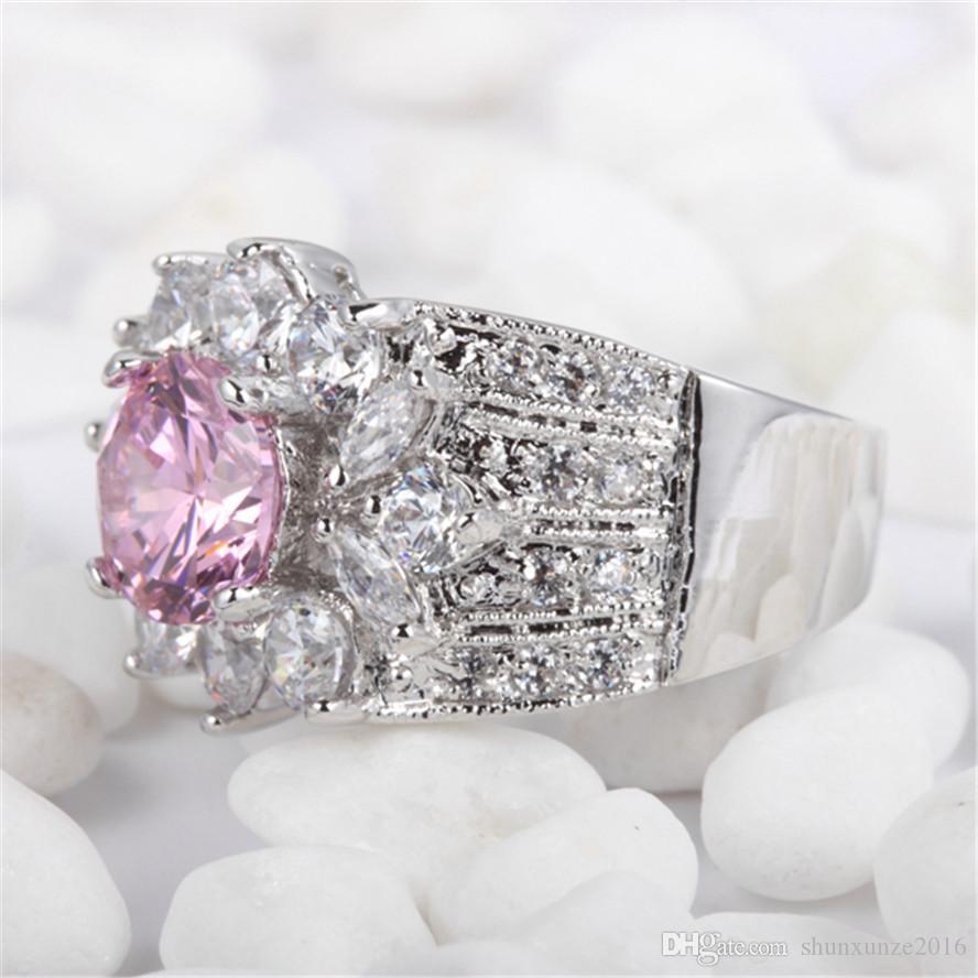고귀한 관대 한 브랜드 새로운 베스트 셀러 빈티지 MN422 sz # 7 8 Shinning 분홍색 큐빅 지르코니아 도매 구리 로듐 도금 승진 반지