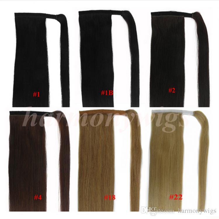 Top Quality 100% Cabelo Humano Rabos De Cavalo desembaraçar o cabelo 20 22 polegadas 100g # 1 / Jet Black Hetero Brasileiro Extensões de Cabelo Indiano mais cores