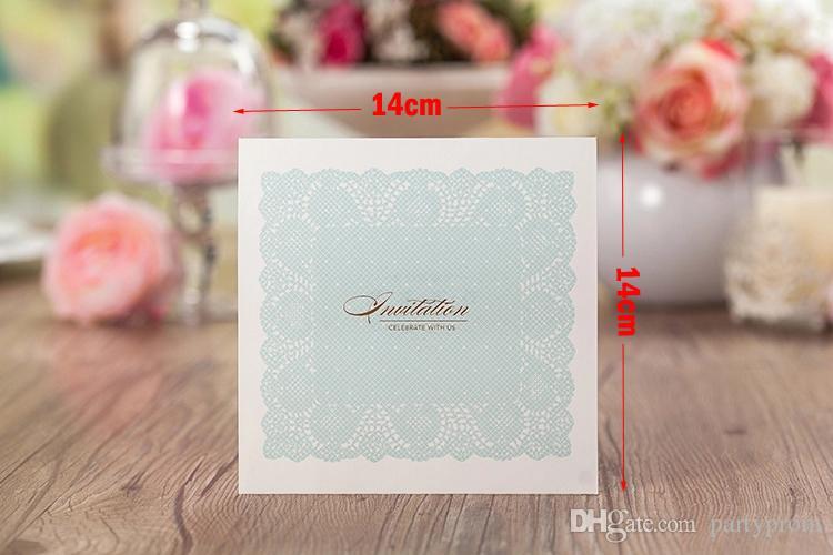 スカイブルーの結婚式の招待状中空レースエレガントなレーザーカットの誕生日カード空白のブライダルシャワーの招待状結婚カード