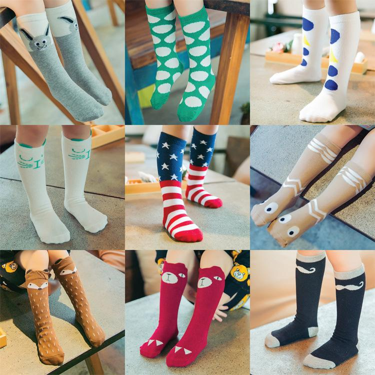 93a3b0956 2016 new baby cotton fox socks girls knee high bear socks stockings baby  star footwear leggings socks baby chevron leg warmers