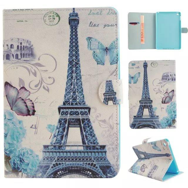 Cartoon Butterfly Tree Dreamcatcher Leather Wallet Case Bag pouch For Ipad Mini 1 2 3 4 Mini4 7.9 tablet Eiffel Tower Snow Stand Cover