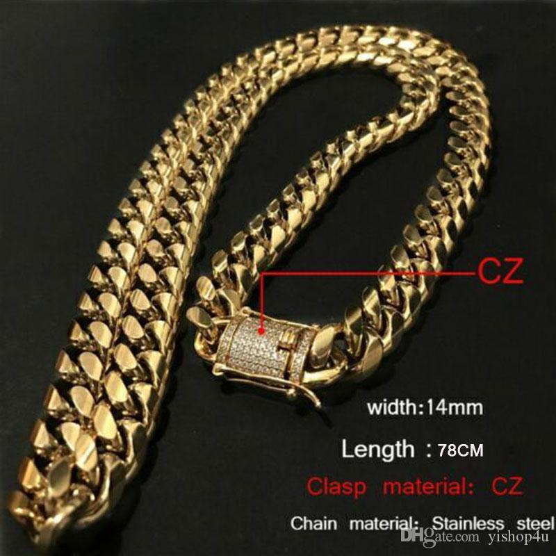 85dd4df9a6f8c 8mm/10mm/12mm/14mm/16mm/18mm Cool Mens Chain 18K Gold Tone 316L Stainless  Steel Necklace Curb Cuban Link Chain with Diamond Clasp Lock