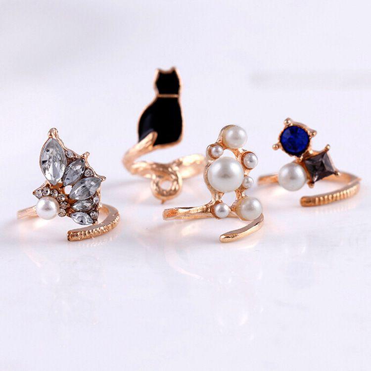 Кольца костяшки женщины миди кольца 4 шт. / Лот японский модный ветер кошка совместное кольцо жемчужные кольца бесплатная доставка