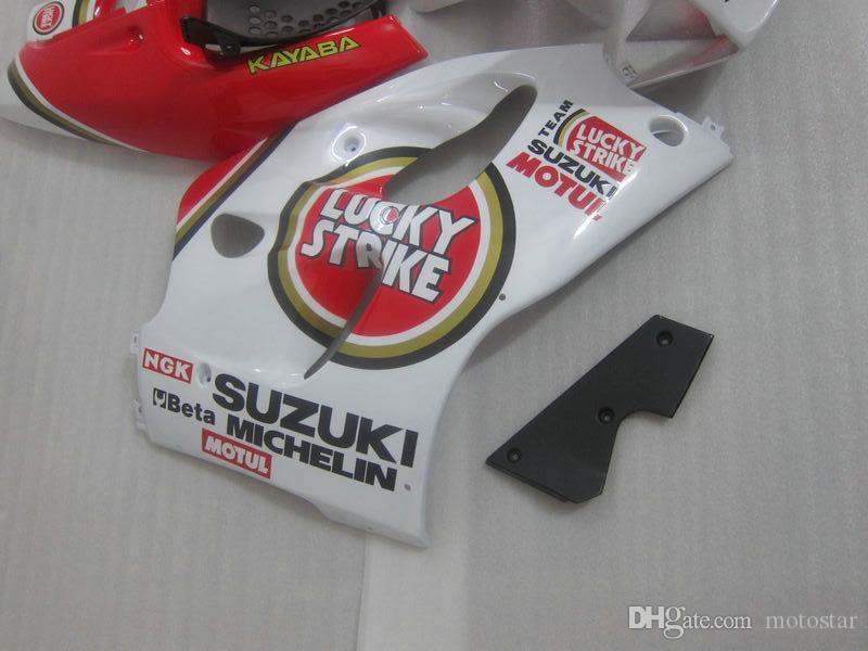 طقم أدوات التشطيب البلاستيكية لـ SUZUKI GSXR600 GSXR750 1996-2000 GSX-R600 / 750 96 97 98 99 00 أحمر أبيض.