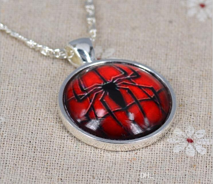 2 Styles Spider man Pendant Necklace Marvel Super Hero Necklace Time Gem Glass Cabochon Necklace Movie Jewelry