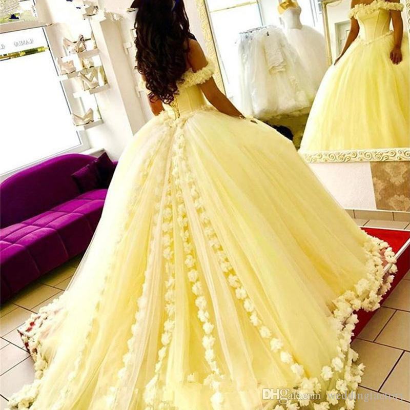431739aa986 Charming Light Yellow Ball Gown Prom Dress Off The Shoulder Ruffles Puffy Tulle  Evening Party Gowns With Handmade Flowers Corset Back Red Prom Dresses  Under ...