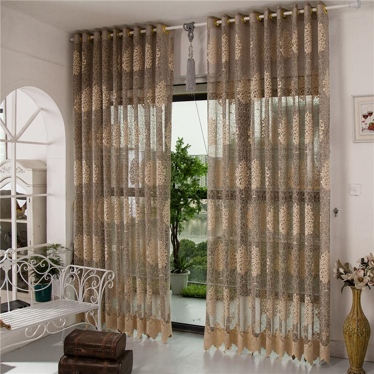 Luxury Living Room Sheer Curtains Customer Made White Cream Brown Jaquard Voile  Sheer Curtains Drape Panel Tulle For Window Panel Height 280 Sheer Window  ...