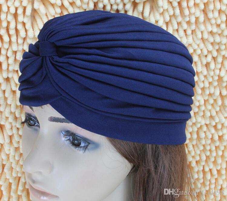 Bandeau extensible Turban Head Wrap Band Sommeil Chemo Bandana Hijab Casquette indienne plissée