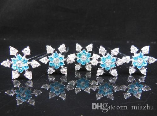 Gorgeous Snowflake Hair Jewelry Girl Bridal Wedding Prom Blue Crystal Rhinestone Hair Pins Cosplay jewelry Hair Accessories