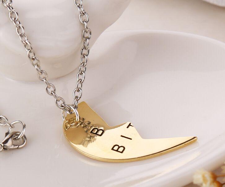 سعر المصنع ! / الذهب والفضة كسر القلب أفضل الكلبات 3 أجزاء قلادة قلادة أفضل هدية للأصدقاء