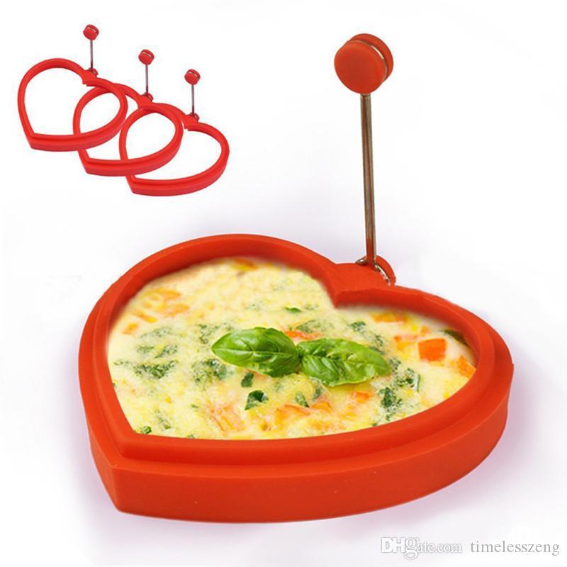 Anillo de panqueque de huevo de silicona reutilizable Corazón en forma de corazón de flor Molde de huevo Corazón hace panqueques perfectos huevos Haga que a sus hijos les encanta el desayuno