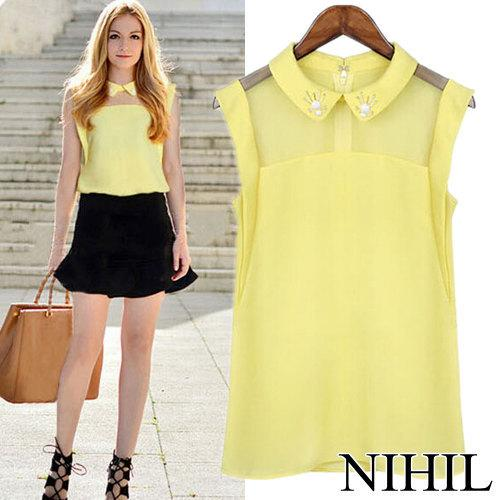 Best Quality Yellow Sheer Chiffon Blouse & Shirt Women Blouse Tops ...