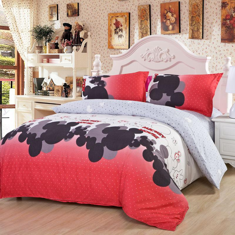 Kids/Adult Single Double Mickey Minnie Mouse Cat King/Queen/Full Size Bedding  Set, Comforter Sheet Duvet Cover Linen Home Textile N0.15 King Bedding Set  ...