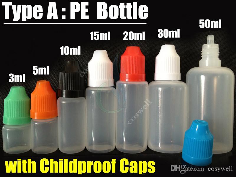 최고 품질의 PE / PET 병 5ml 10ml 15ml 20ml 30ml 50ml 빈 병 플라스틱 Dropper Pinhole 병 빈 childproof 캡 E 액체 오일 병
