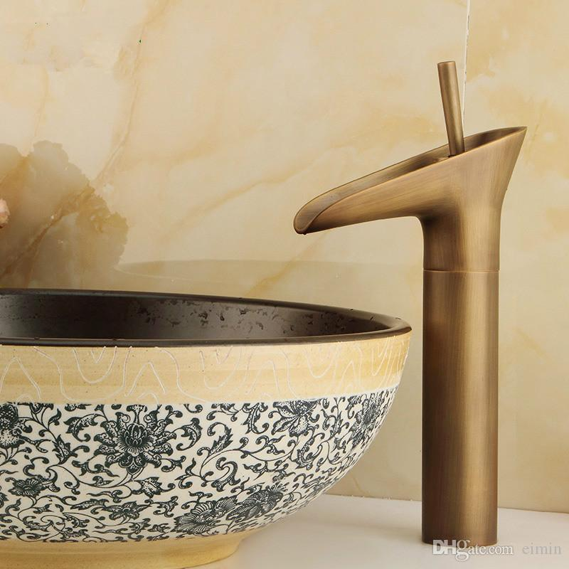 Wholesale and retail Copper basin faucet Bathroom faucet Single hole of cold faucet Retro style The ancient cup style
