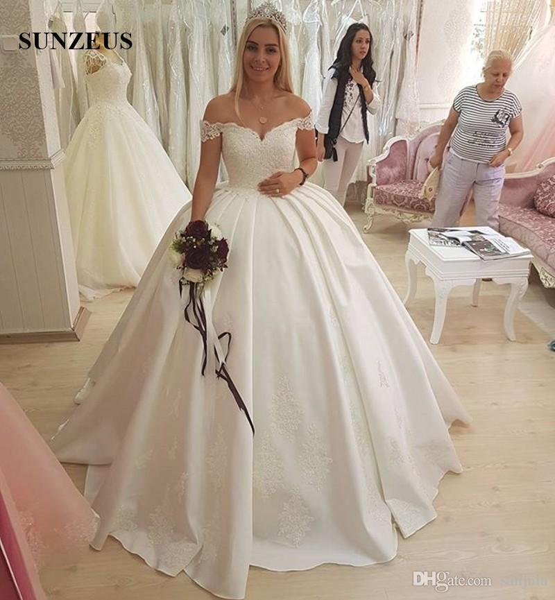 Ball gown sweetheart off shoulder wedding dresses with for Ball gown wedding dresses with long trains