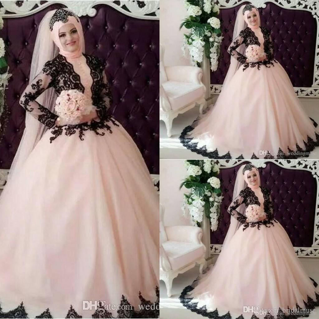 Discount muslim wedding dresses 2016 spring black and pink for Cheap muslim wedding dresses