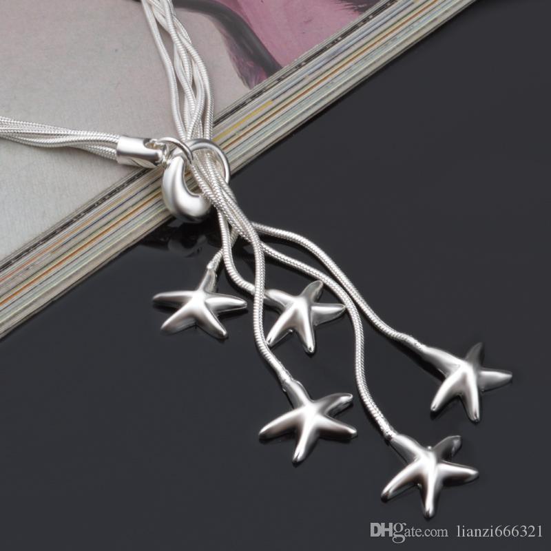 Продвижение продажа 925 серебряная цепь ожерелье Рождественская мода 925 серебро 5 Морская звезда ожерелье ювелирные изделия бесплатная доставка горячая продажа 1354