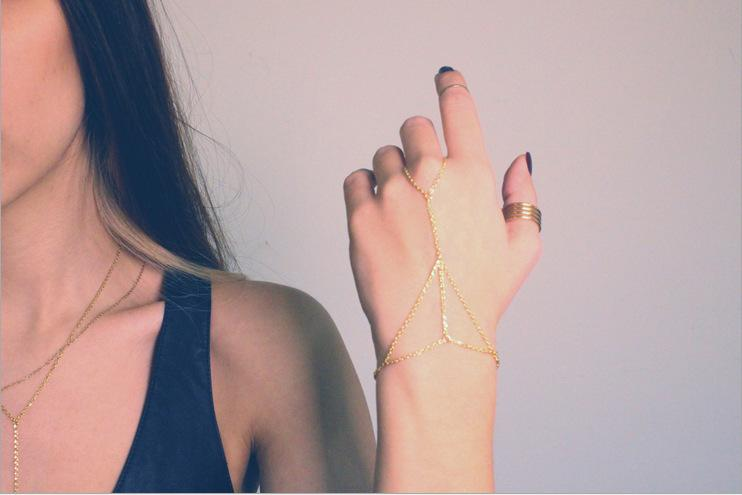 Jewelry Body chain Bangles Bracelets Women Gold/Silver Tone Bracelet Bangle Slave Chain Link Interweave Finger Ring Hand Harness Free DHL