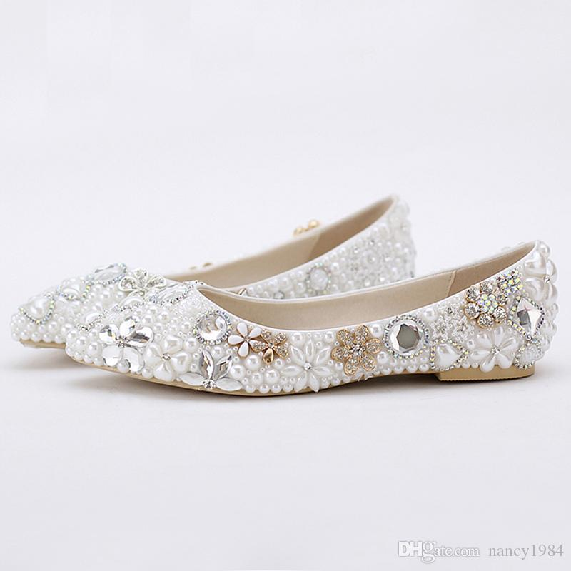 2016 Beatiful Flat Heel White Pearl Wedding Shoes Comfortable Crystal Bridal  Flats Customized Mother Of Bride Shoes Plus Size Wedding Gowns Womens Shoes  ... 617e2cdea998