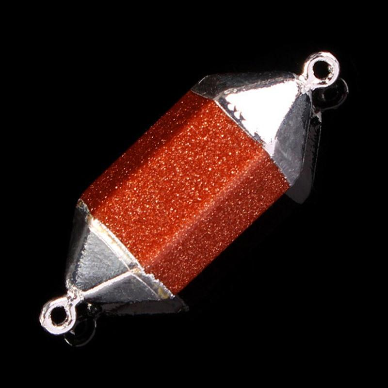 2016 Silver Plated Natural Gem Stone double connector Hexagon Prism Reiki Pendulum Pendant Charms Chakra Amulet DIY Jewelry 12X