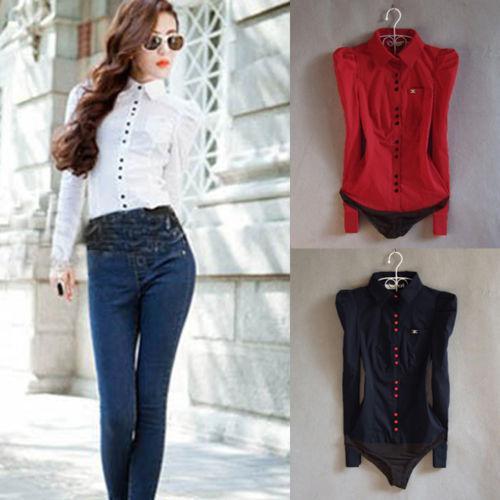 51ab5173b9cd27 2019 Fashion NiceNew Women S Elegant Long Sleeve Cotton OL Bodysuit Shirt  Blouse Button Design From Xingyan01