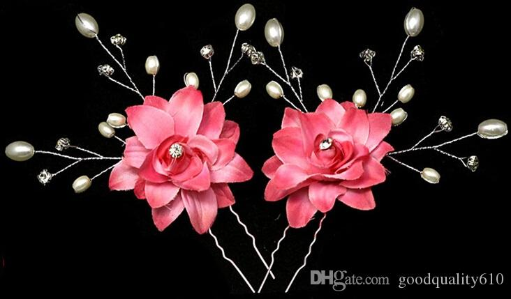 Fabric Pearl Crystal Beaded Flower Hair Pin For Bridal Wedding Hawaii Party
