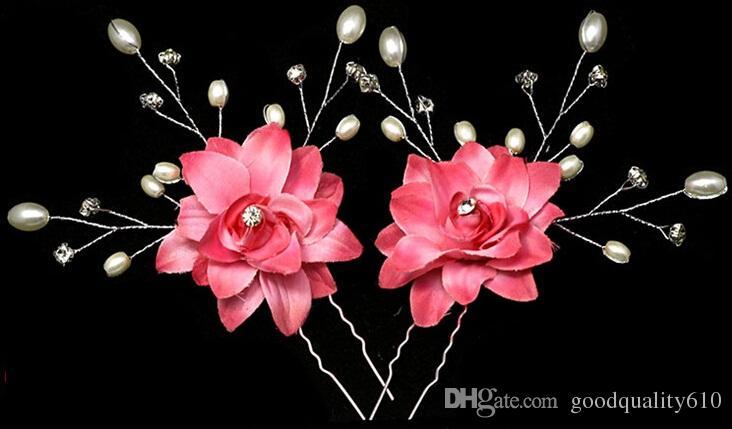 Pin de pelo moldeado cristalino de la flor de la perla de la tela para el partido nupcial de Hawaii de la boda