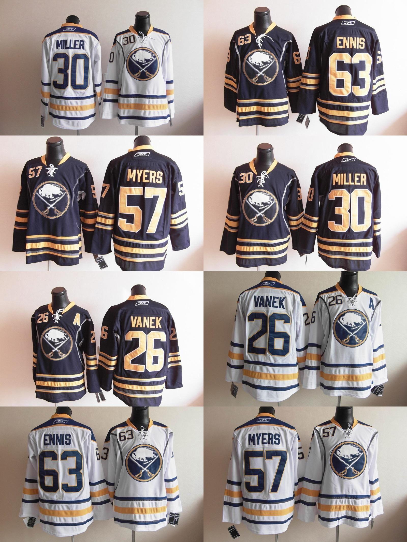 48b601610 2019 2016 Wholesale Buffalo Sabres  63 Ennis  57 Myers  30 Miller  26 Vanek  Dark Blue Regular Home Jersey White Regular Away Ice Hockey Jerseys From  Probowl ...