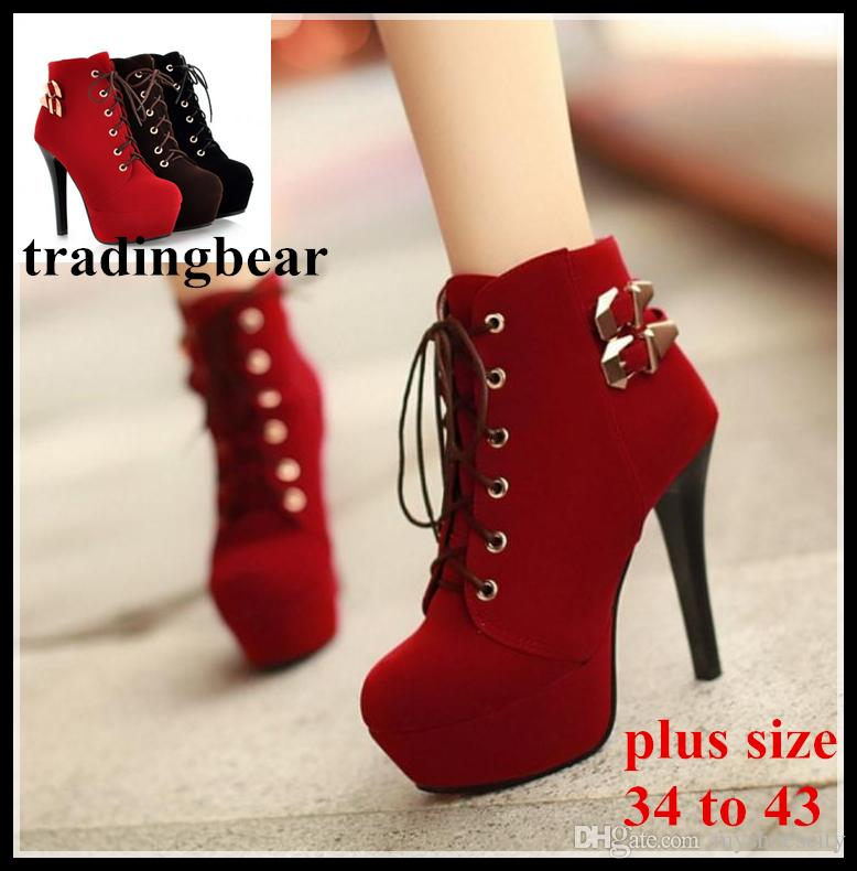 ee1d1ff4d41 Plus Size 34 To 40 41 42 43 Womens Red Bottom Heels Sexy High Heel Ankle  Boots Lace Up Winter Shoes 12cm