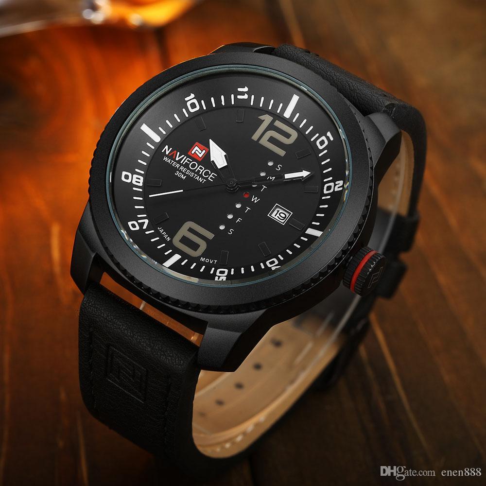 021d36ff205 Compre Nova Marca De Luxo NAVIFORCE Homens Esporte Relógios De Quartzo Dos Homens  Relógio Relógio Homem Militar Do Exército Relógio De Pulso De Couro ...