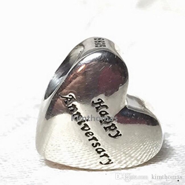 925 Sterling Silver &14K Real Gold Happy Anniversary Charm Bead Fits European Pandora Style Jewelry Bracelets Necklaces & Pendants