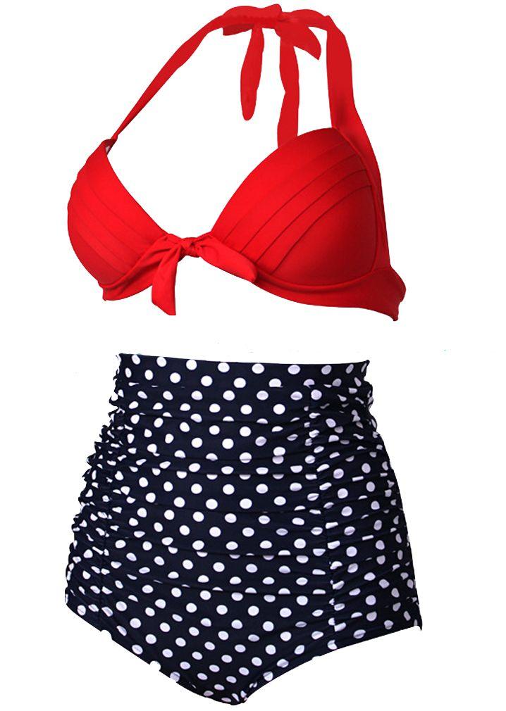 Women Plus size Swimsuit Baithing suit with Retro High-Waist Dot Skull Leopard Floral Swimwear Plus Size Bikini Set Swimsuit SW220
