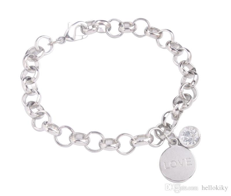 New Arrive Fashion bracelet with assorted word charm Silver Tone Metal Rhinestone Charm Chain Bracelet