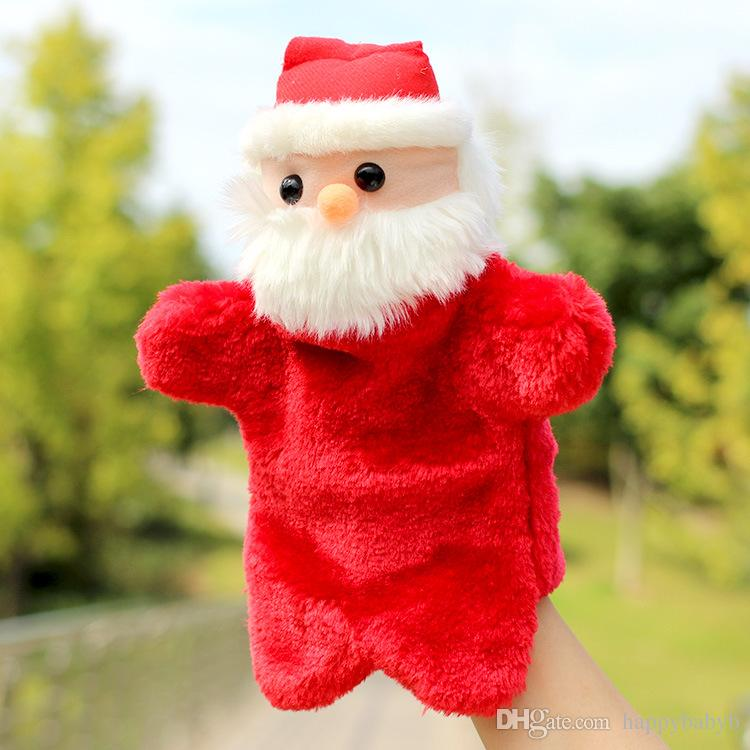 Cute Christmas Santa Claus Hand Puppet Dolls Toys 27CM Stuffed Finger Puppet For Baby Xmas Gifts