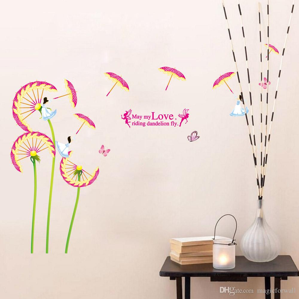 Hot Sale DIY Pink Flower Butterfly Fairy Wall Art Decal Sticker PVC Home Decoration Wall Quote Mural Poster
