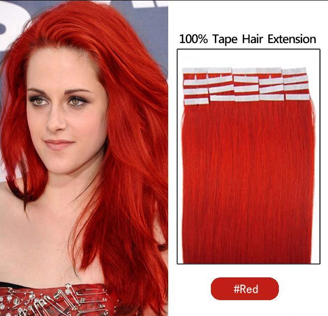 es Indian Hair Skin Skit Remy Remy Cinta de doble cara en las extensiones de cabello humano /