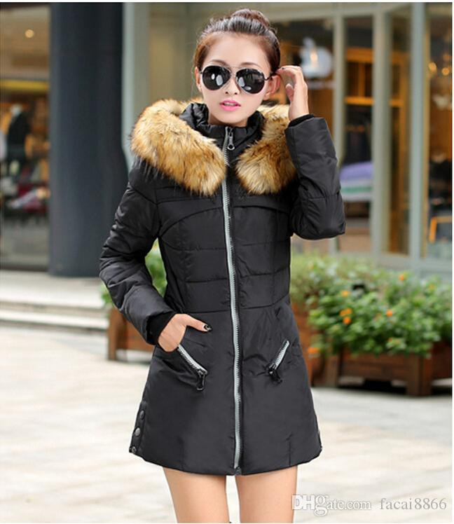 2019 Korean Army Green Women Padded Winter Warm Fur Collar Jackets