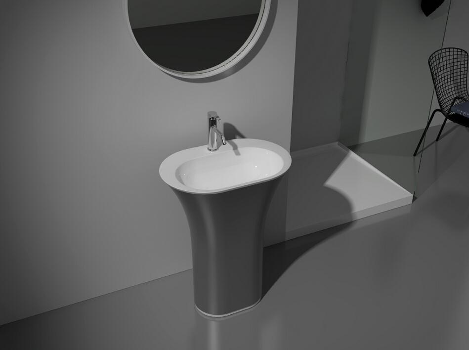 CUPC Certificate Free Standing Solid Surface Stone Bathroom Wash Basin Cloakroom Round Pedestal Sink Matt Or Glossy Finishing RS3824