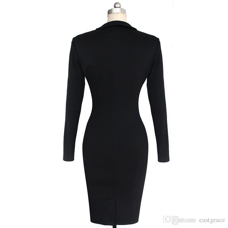 Европейский женский офисный костюм для женщин 2019 Рабочие платья Костюм с длинными рукавами, Карандаш Платья для осенне-весеннего женского платья