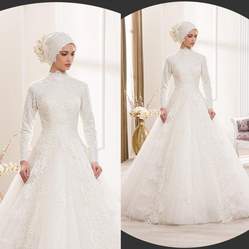 Discount Vintage High Neck Beaded Lace Winter Muslim Wedding Dresses 2015 With Long Sleeves Plus Size Tulle Bridal Gowns For Women Vestidos