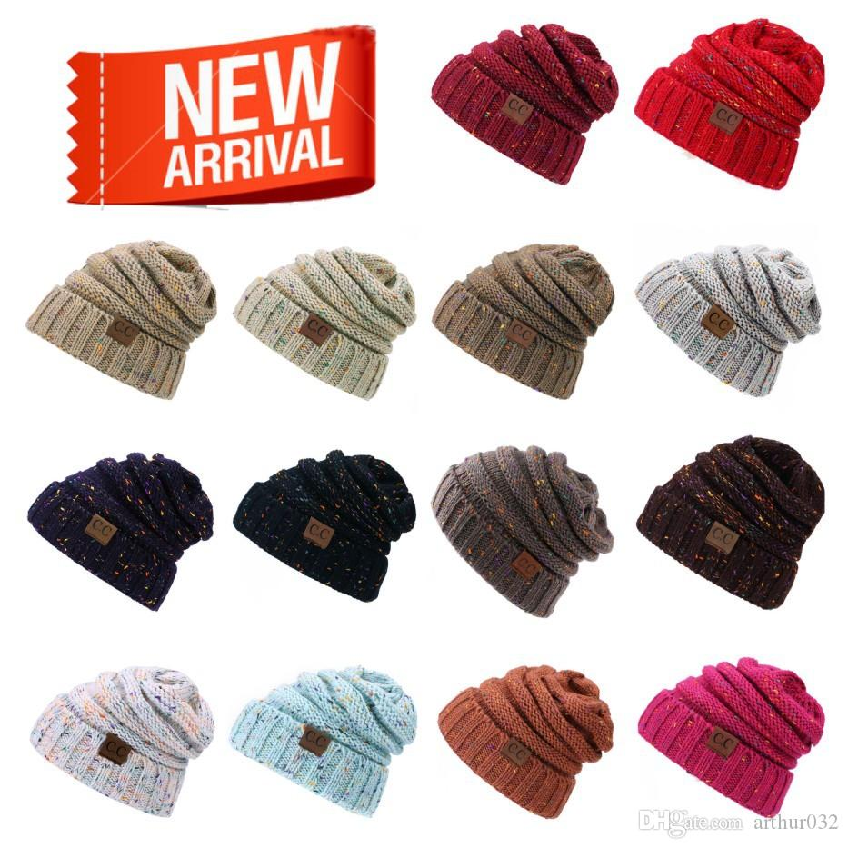 2019 CC Knitted Hats CC Trendy Beanie Women Chunky Skull Caps Winter Cable  Knit Crochet Hats Fashion Outdoor Warm Girls Winter Hats Multicolor From ... 3ac98879bb15
