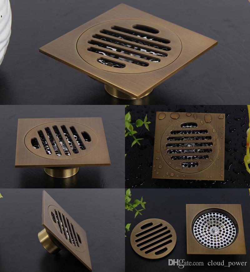 Euro Estilo Antigo Latão Banheiro Chuveiro Linear Dreno de Assoalho Ralo Escorredor de Arame Arte Esculpida Tampa De Latão Resíduos Drainer