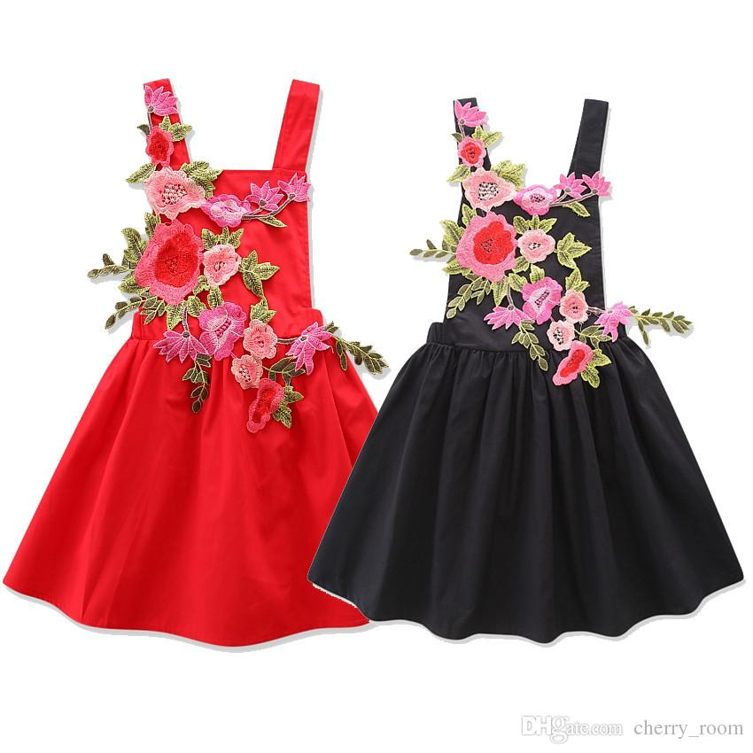 6aa774d1af80 2019 New Boutique Girls Dresses Suspender Dress Embroidered Rose 3D ...