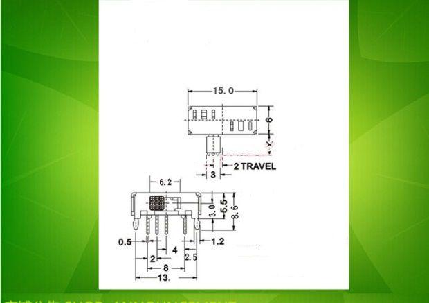 SK23D06 cadran horizontal latéral 4 pieds 3 commutateurs à bascule avec deux petites poignées à pied fixe 4MM