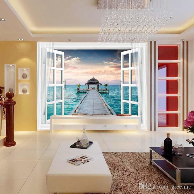 Window 3D Maldives Large Ocean View Wall Stickers art Mural Decal Wallpaper Living Bedroom Hallway Childrens Rooms